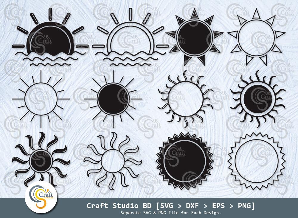 Sun Silhouette, Summer Sun SVG Bundle