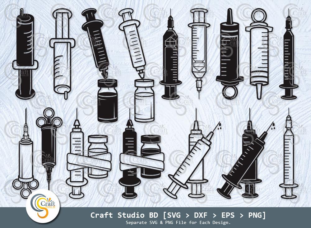 Syringe Silhouette, Injection SVG Bundle