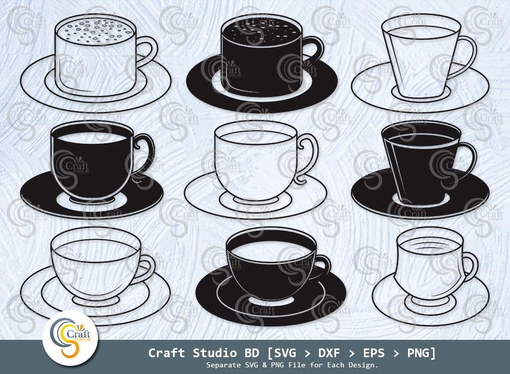 Tea Cup Silhouette, Coffee Cup SVG Bundle