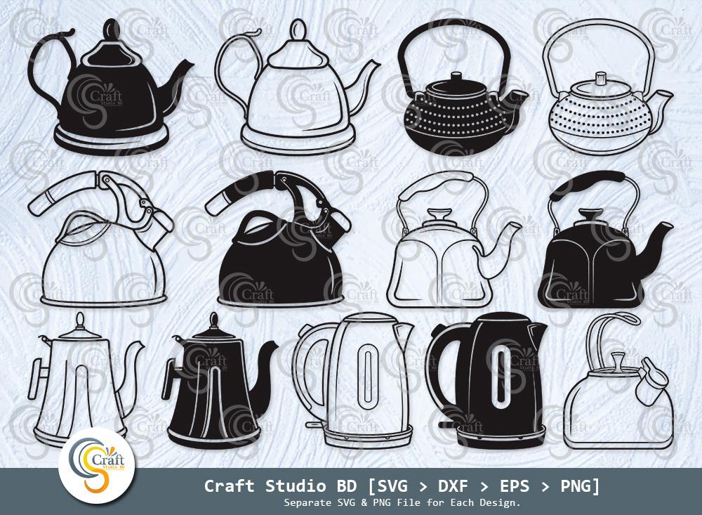 Tea Kettle Silhouette, Tea Pot SVG Bundle