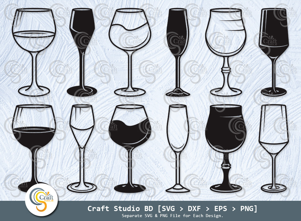 Wine Glass Silhouette, Drink Glasses SVG