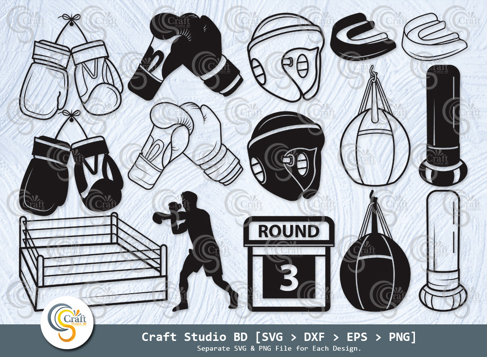 Boxing Silhouette, Boxing Gloves SVG Bundle