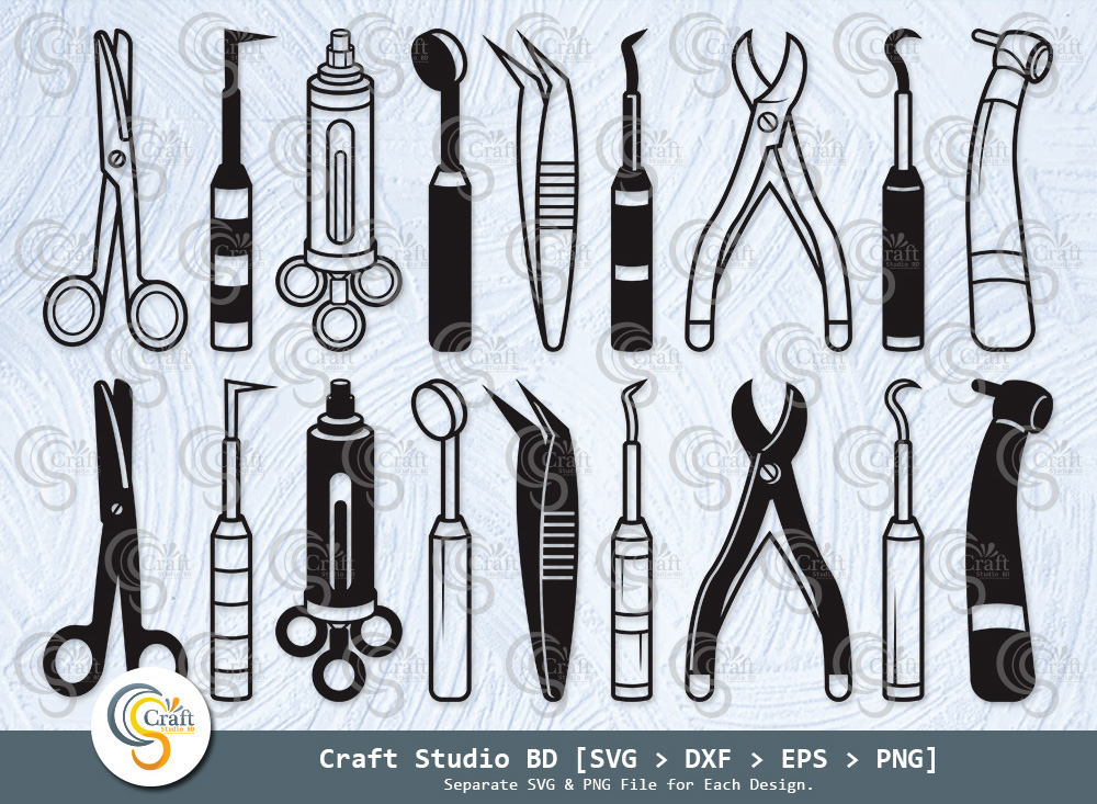 Dental Equipments Silhouette, Dental SVG