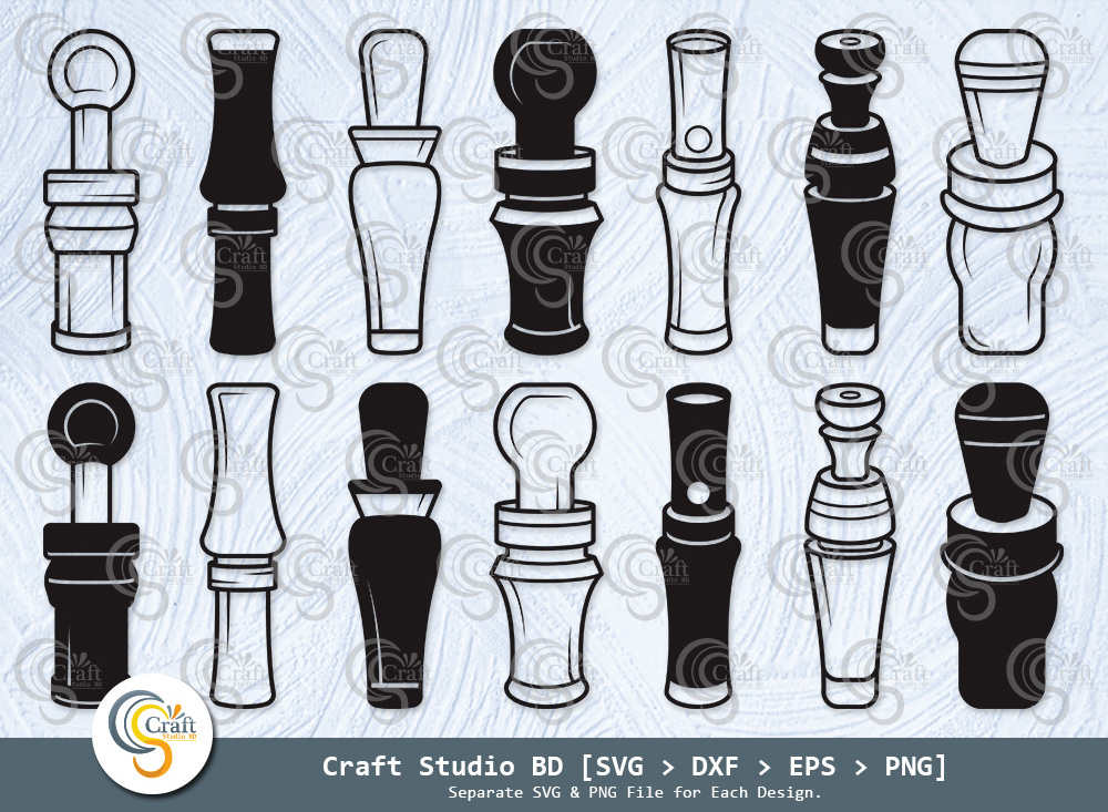 Duck Call Silhouette, Duck Whistle SVG Bundle
