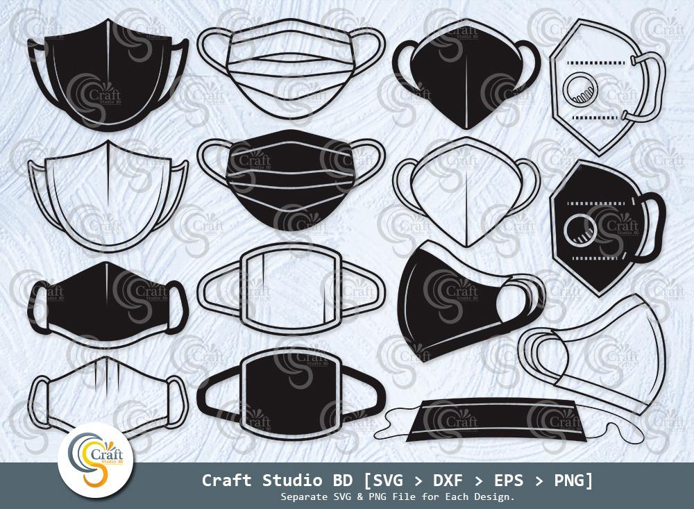 Face Mask Silhouette, Face Mask SVG Bundle