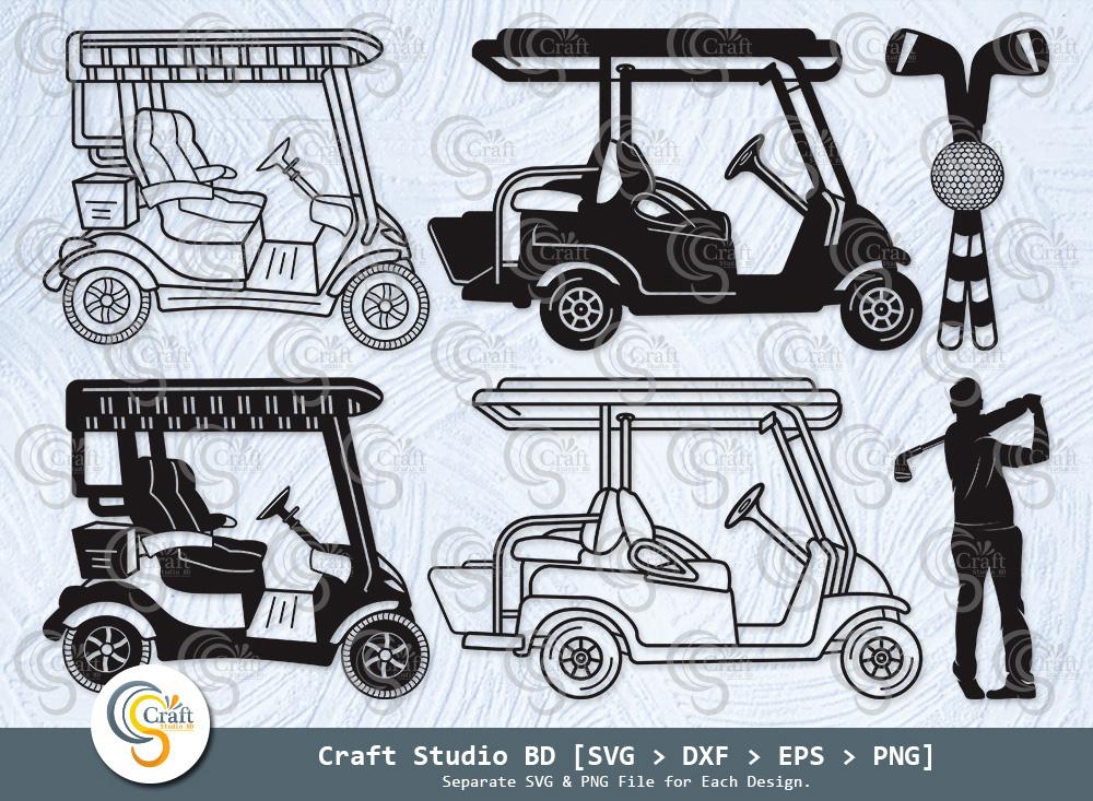 Golf Cart Silhouette, Golf Cart SVG, Golf SVG