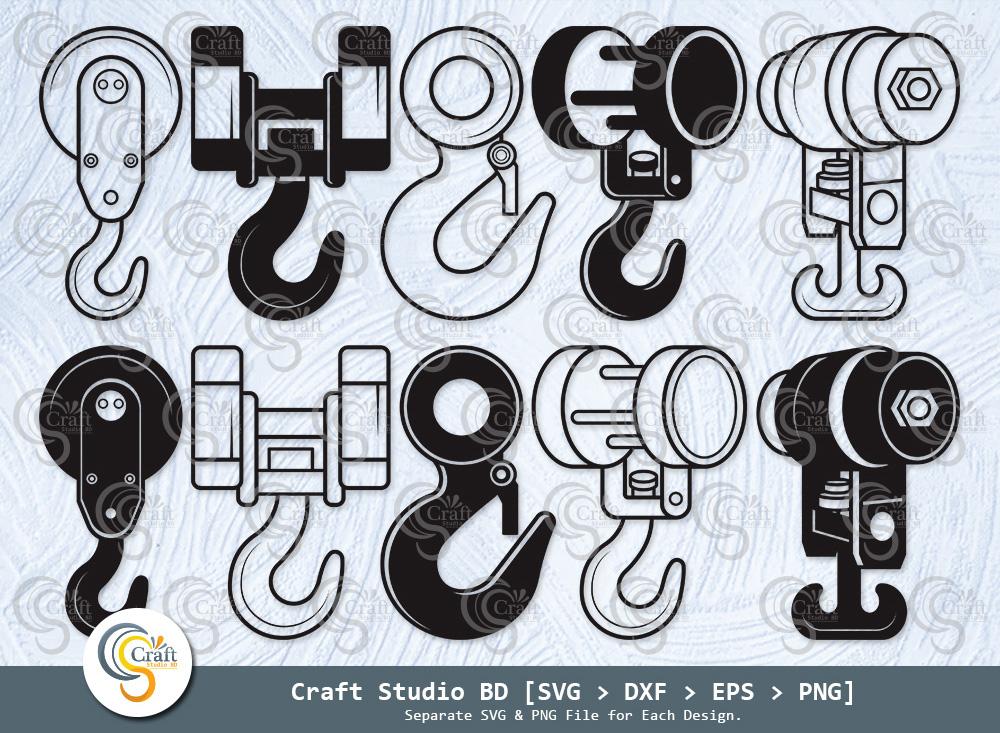 Hook Crane Silhouette, Hook Crane SVG Bundle