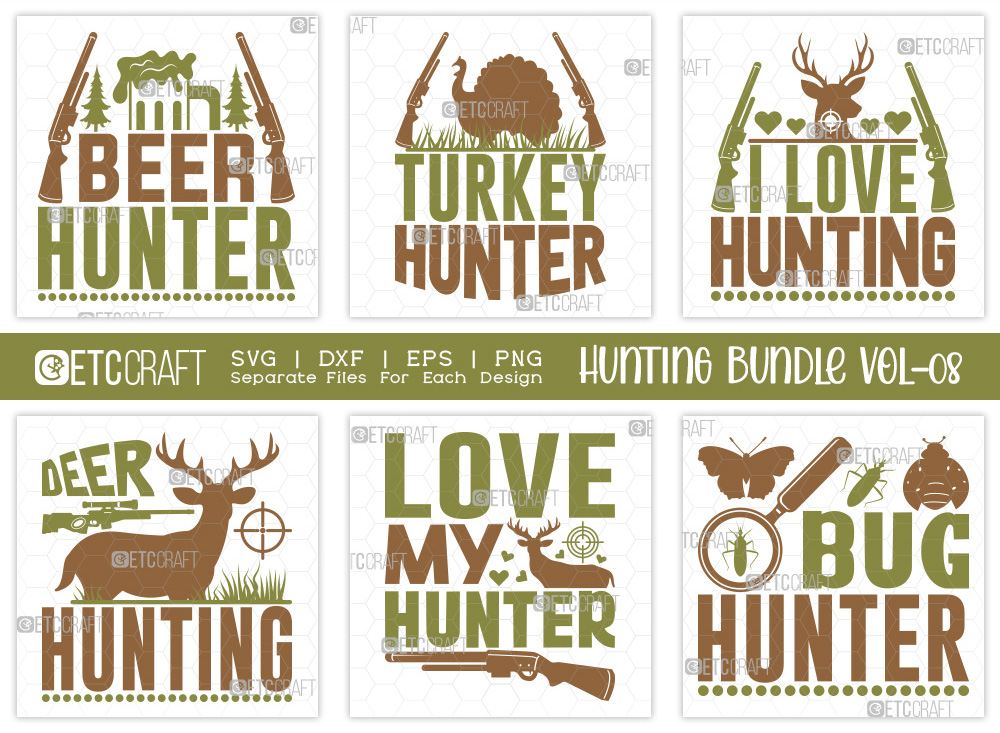Hunting SVG Bundle Vol-08 | Beer Hunter SVG