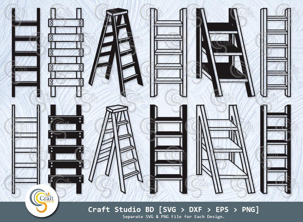 Ladder Silhouette, Firefighter Ladder SVG Bundle
