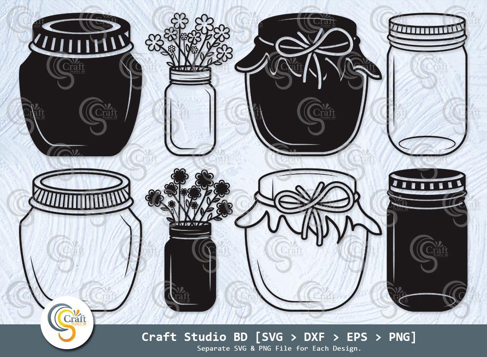 Mason Jars Silhouette, Mason Jars SVG Bundle
