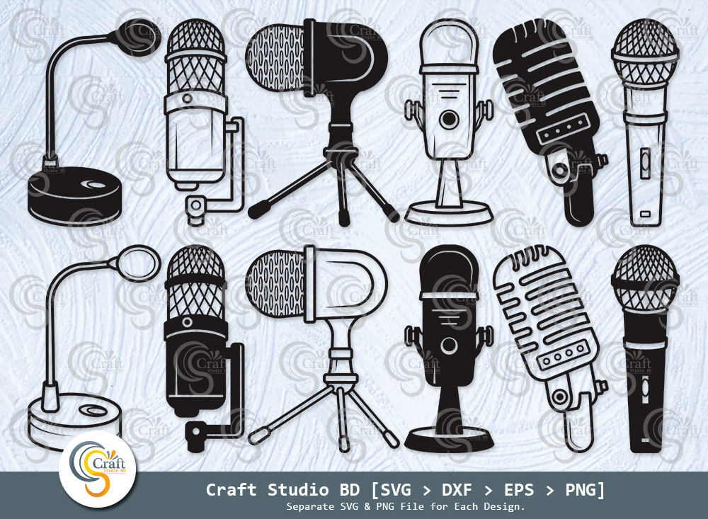 Microphone Silhouette, Microphone SVG Bundle