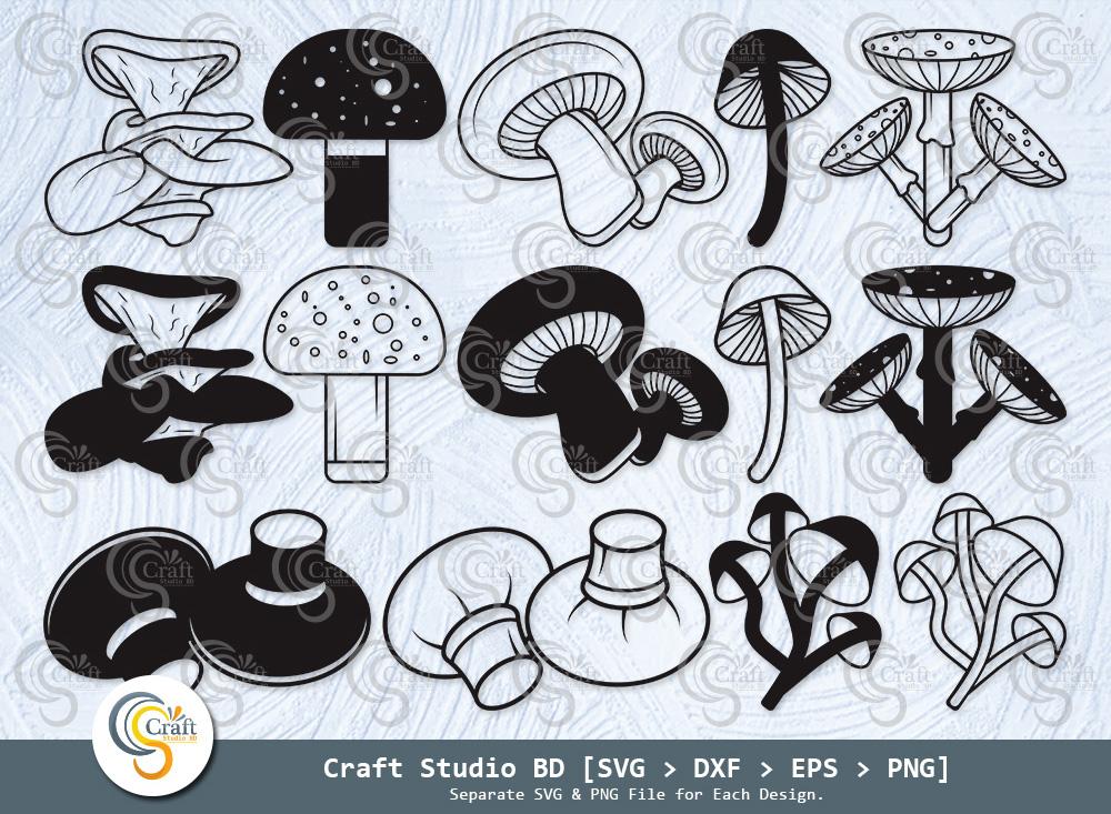 Mushroom Silhouette, Mushroom SVG Bundle