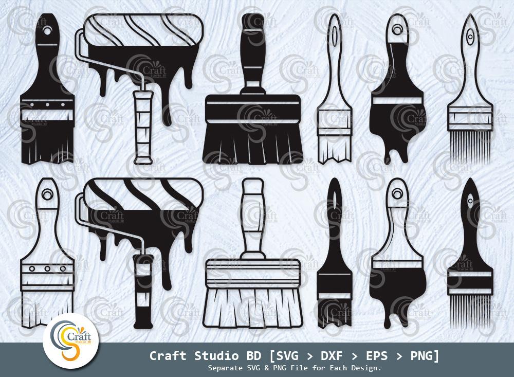 Paint Brush Silhouette, Brushes SVG Bundle