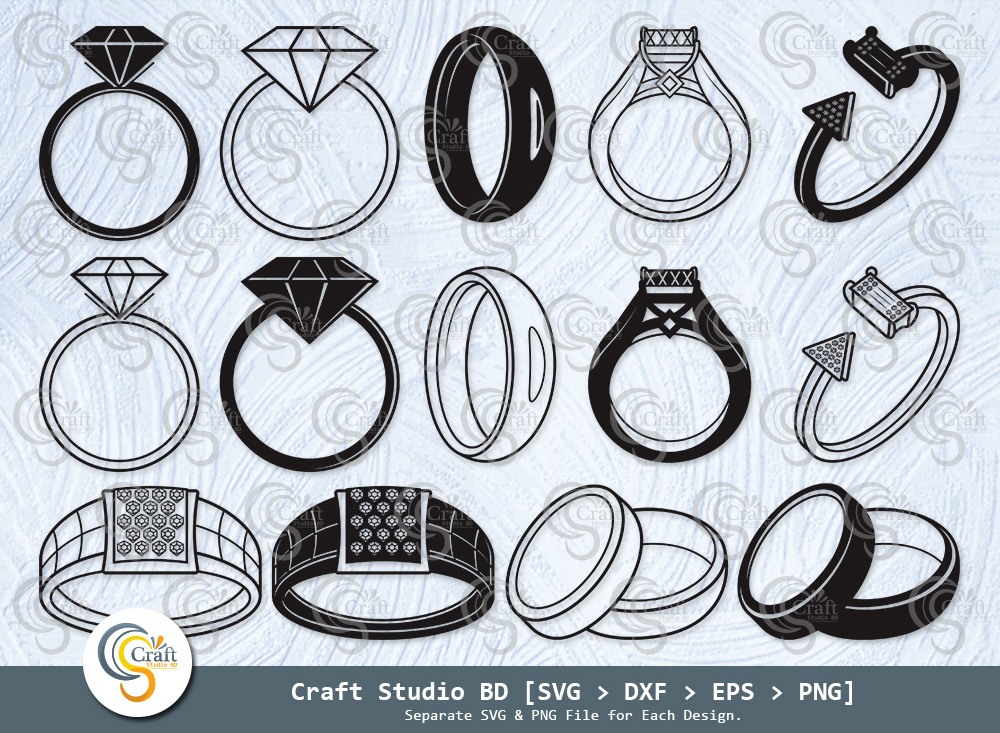 Ring Silhouette, Engagement Rings SVG Bundle