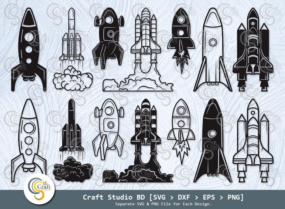 Rocket Silhouette, Space Rocket SVG Bundle