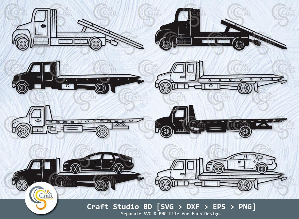 Rollback Truck Silhouette, Rollback Truck SVG