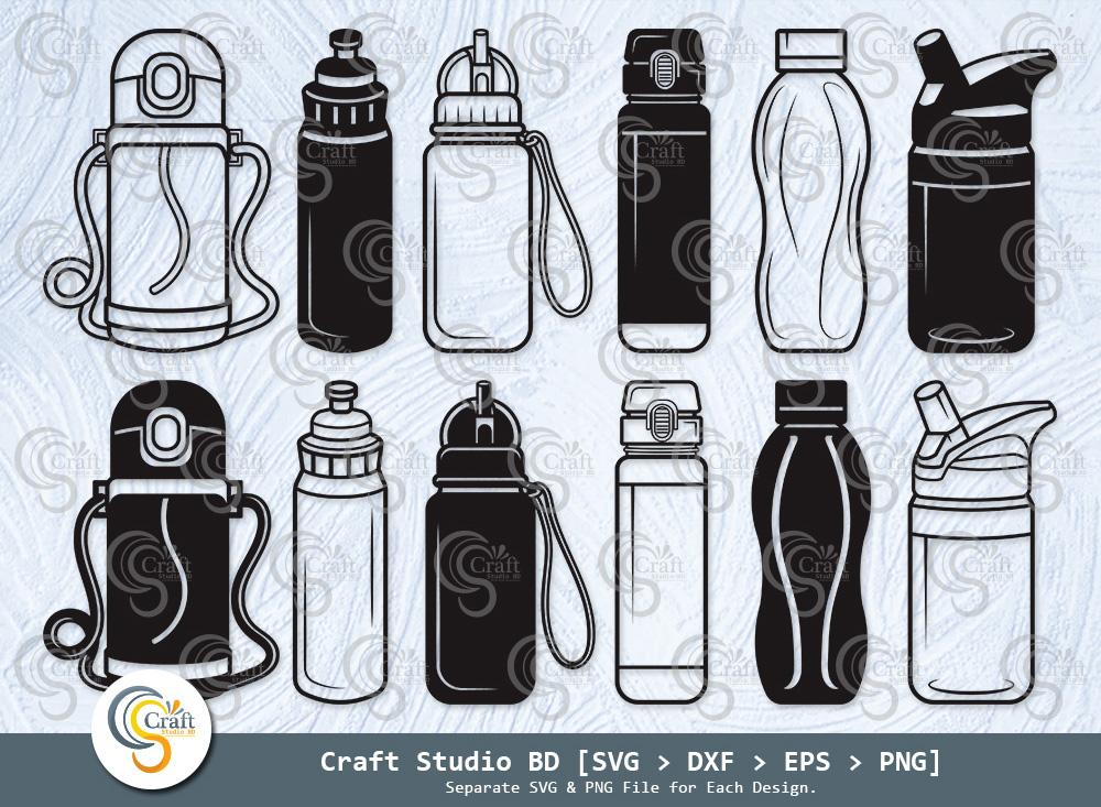 School Drink Bottle Silhouette, Water Bottle SVG