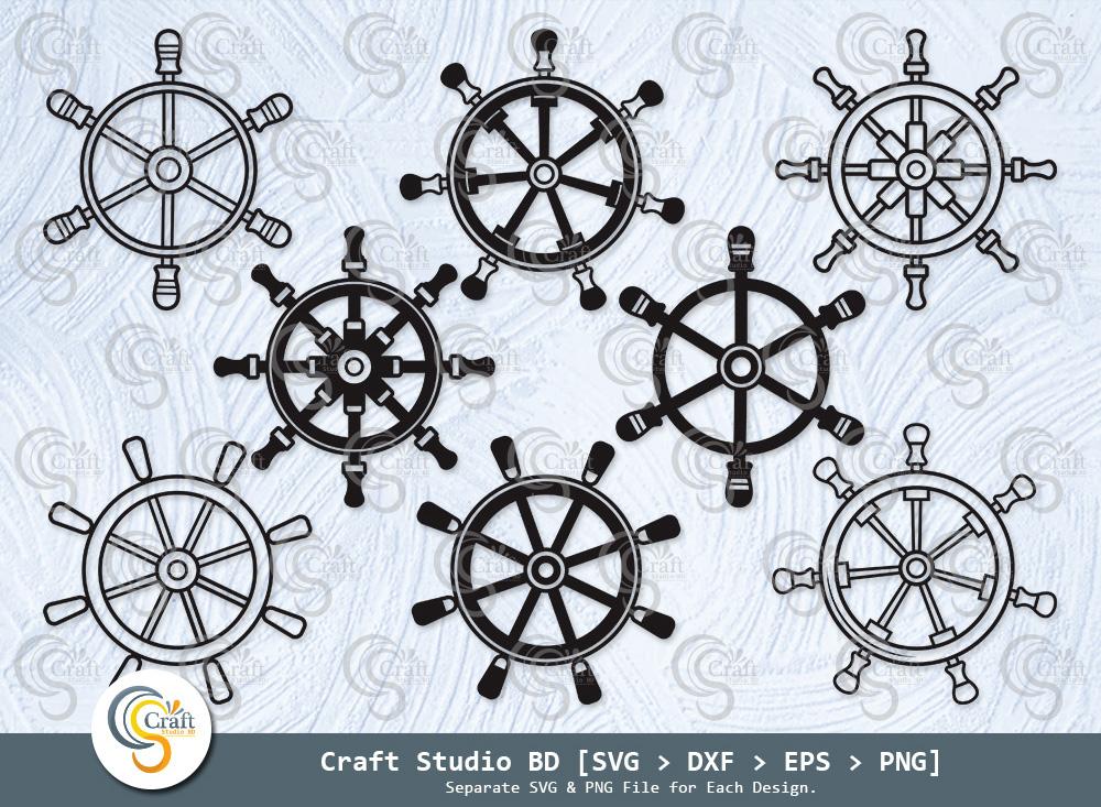 Ship Wheel Silhouette, Captains Wheel SVG
