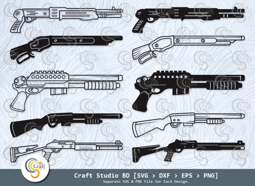 Shotgun Silhouette, Tactical Shotgun SVG Bundle