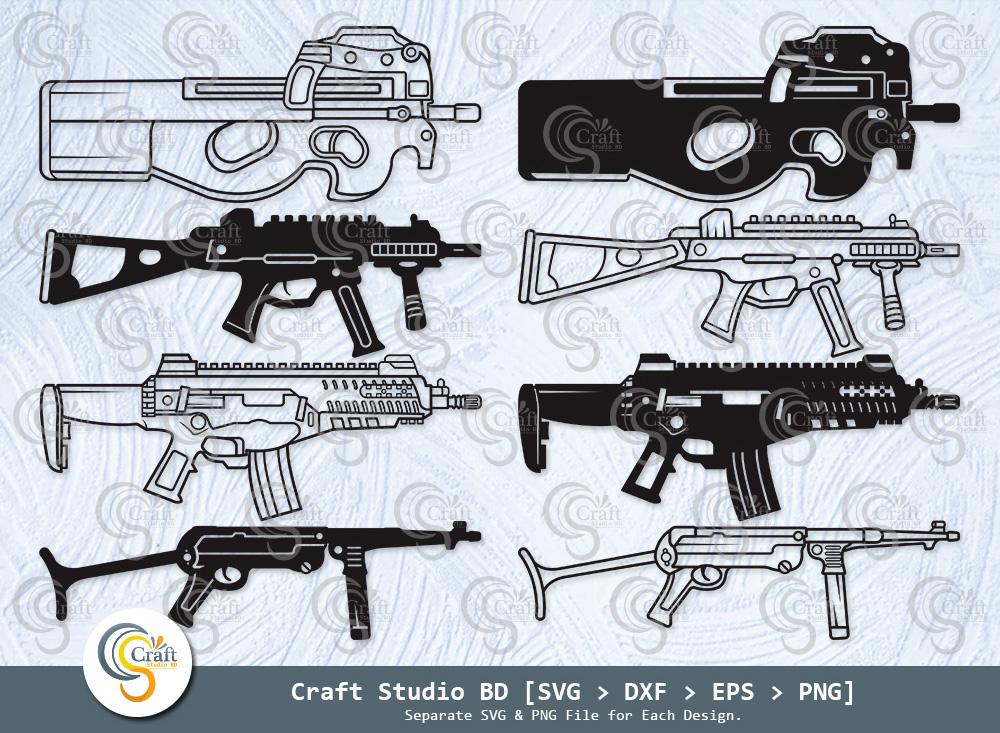 Submachine Gun Silhouette, SR5-A5 Gun SVG