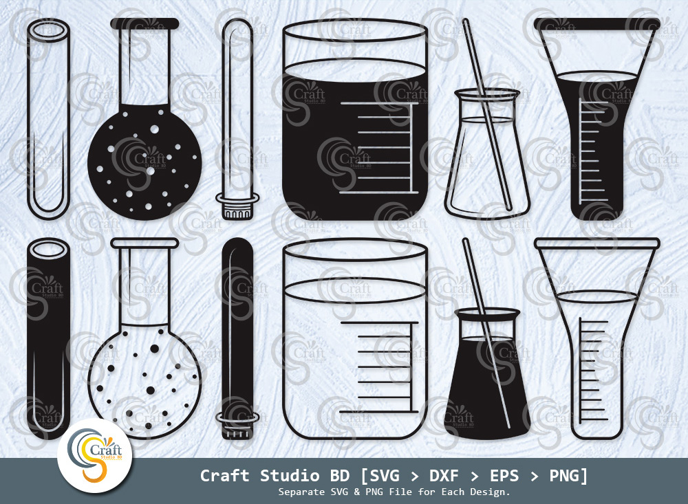 Test Tube Silhouette, Chemistry Tools SVG