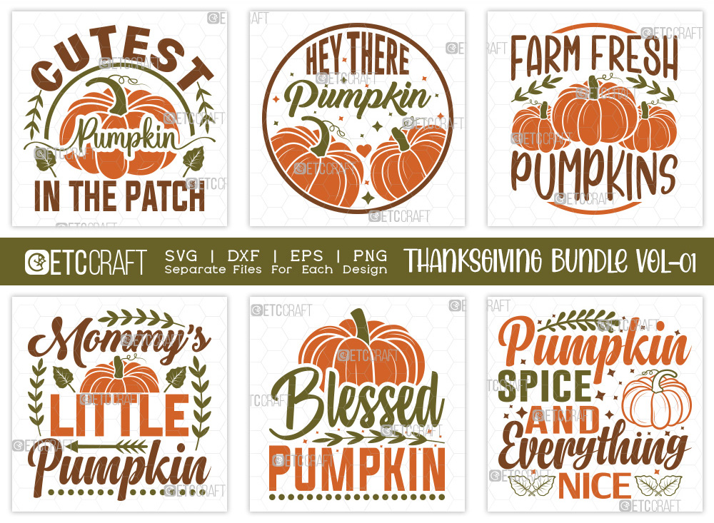 Thanksgiving SVG Bundle Vol-1 | Pumpkin SVG