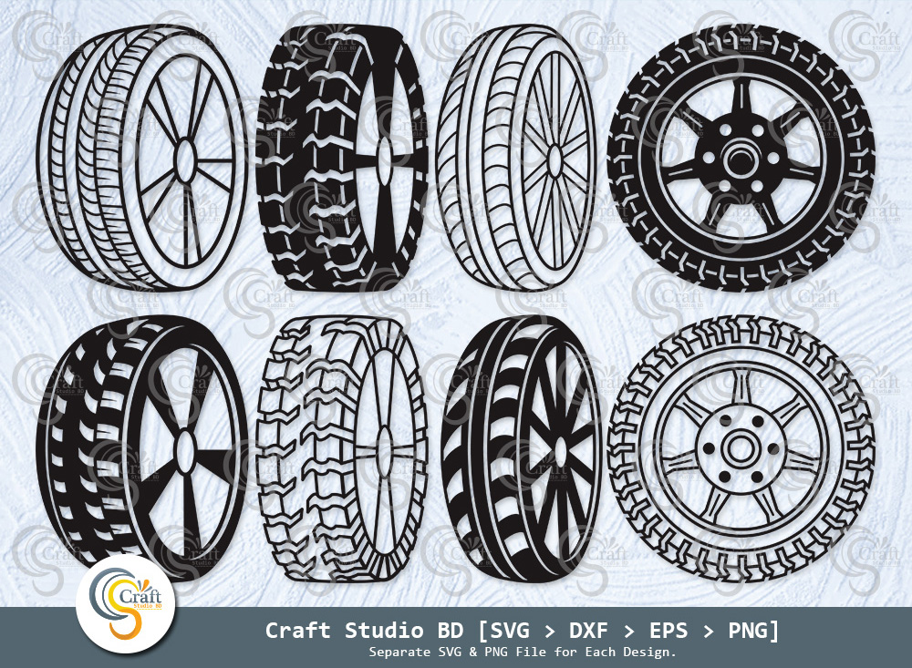 Tire With Wheel Silhouette, Car Wheel SVG