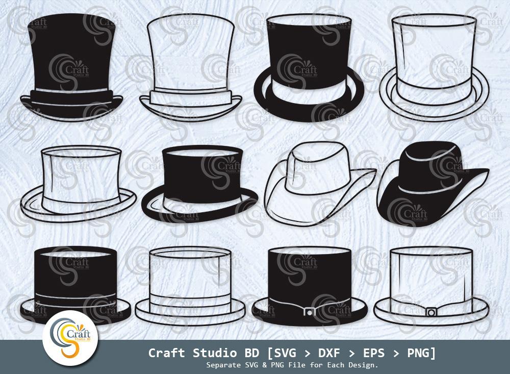 Top Hat Silhouette, Top Hat SVG, Fedora Hat Svg