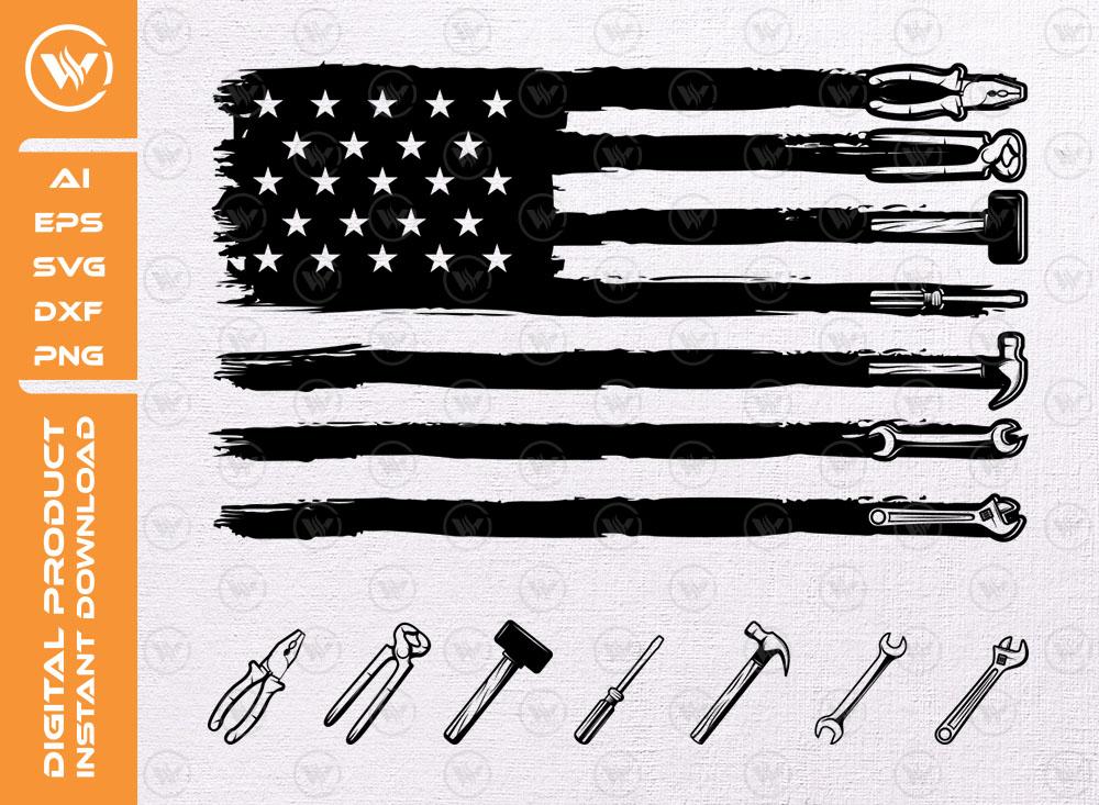 USA Flag Tools SVG   Tools Clipart SVG