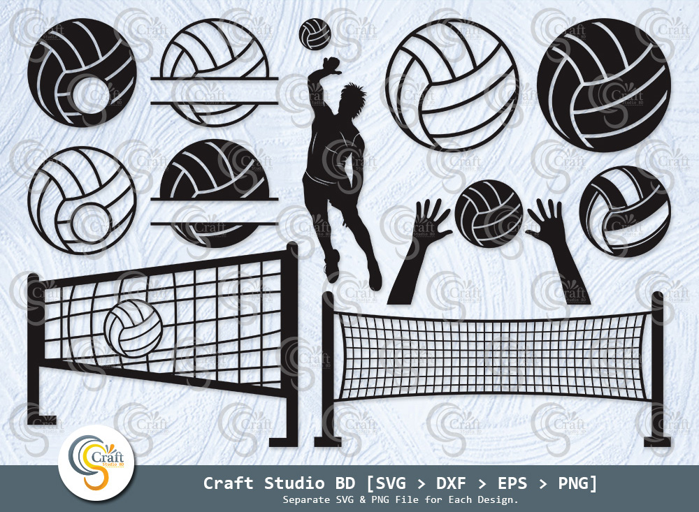 Volleyball Silhouette, Volleyball SVG, Sports Svg