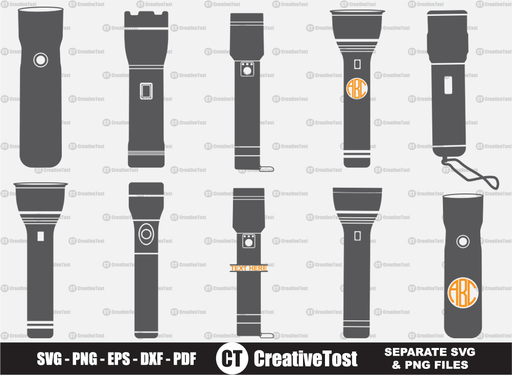 Flashlight SVG, Flashlight Split Monogram