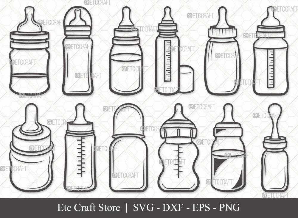 Baby Bottle Outline SVG | Milk Bottle SVG