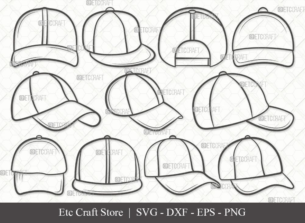 Baseball Hat Outline SVG Cut File   Cap SVG