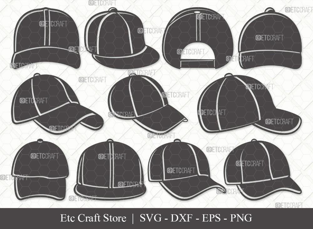 Baseball Hat Silhouette SVG Cut File   Cap SVG