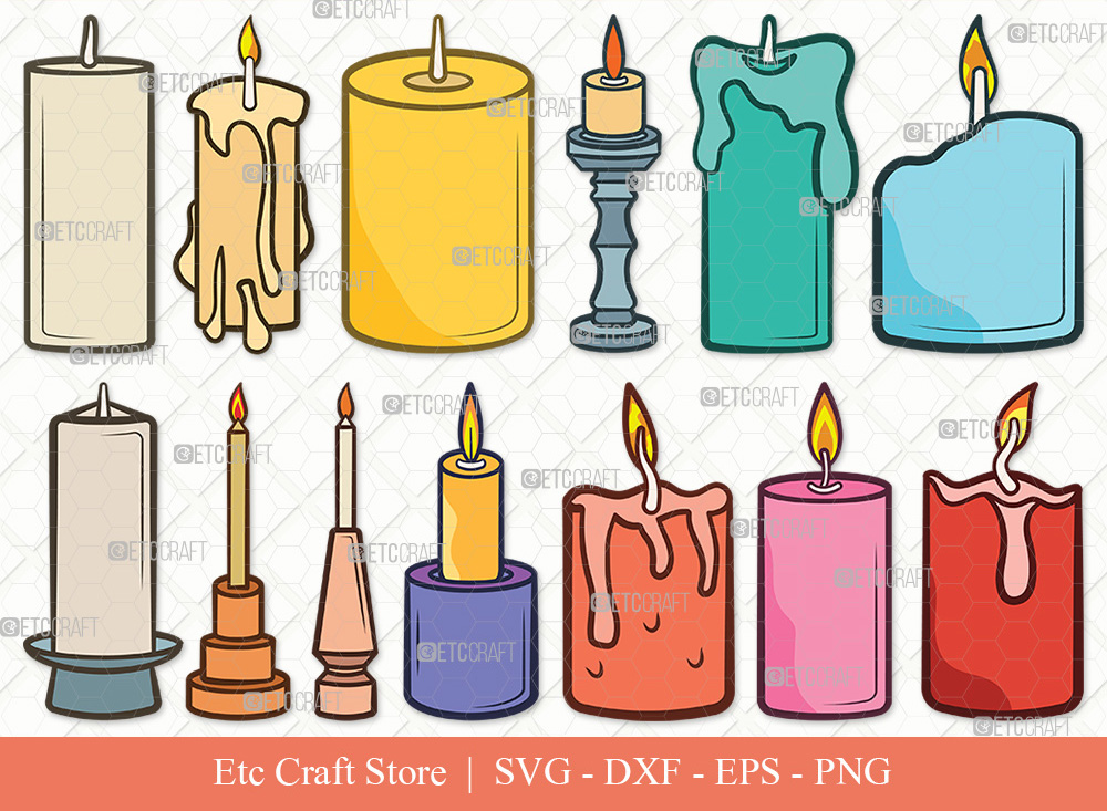 Burning Candle Clipart SVG   Candles SVG
