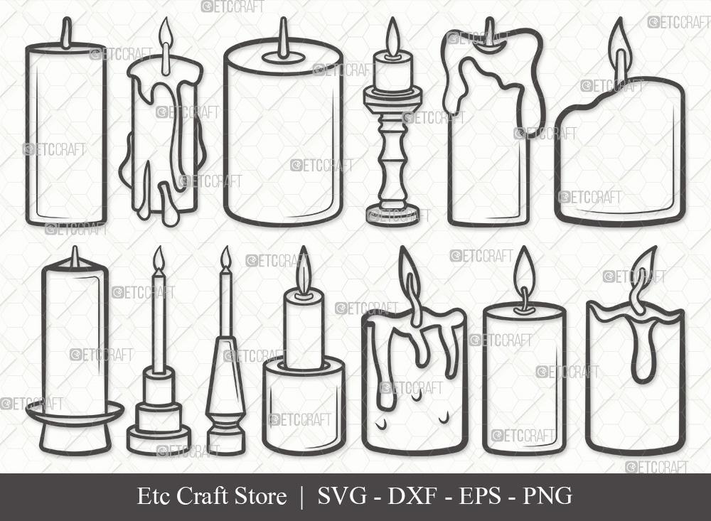 Burning Candle Outline SVG   Candles SVG