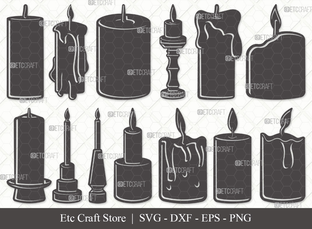 Burning Candle Silhouette SVG   Birthday SVG