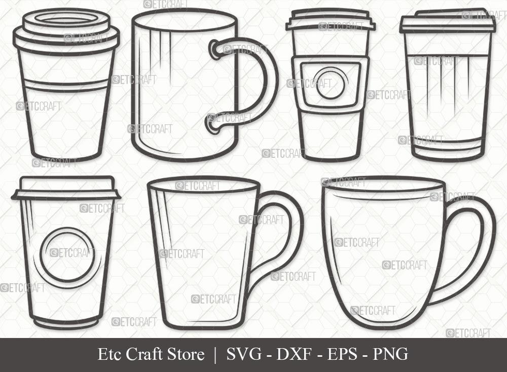 Coffee Cup Outline | Coffee Mug SVG Bundle