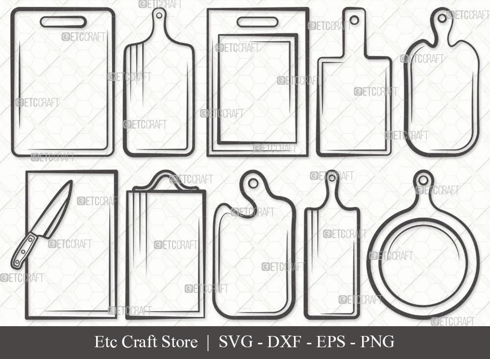 Cutting Board Outline SVG | Kitchen Board SVG