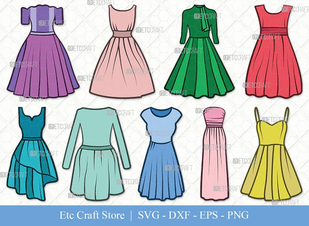 Dress Clipart SVG Cut File | Dresses SVG Bundle