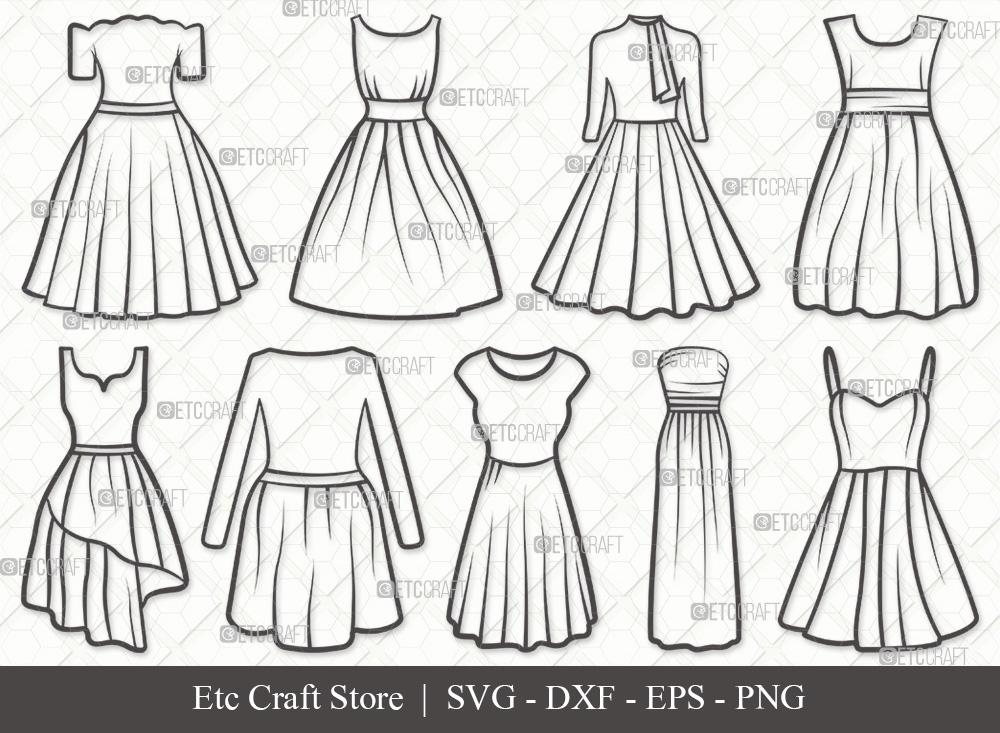 Dress Outline SVG | Dresses SVG Bundle