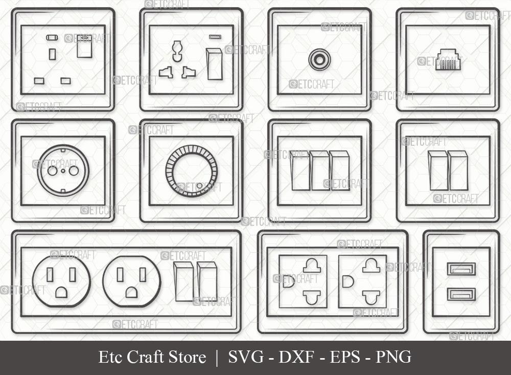 Electrical Socket Outline | Electrical Plug SVG