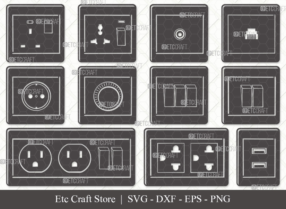 Electrical Socket Silhouette | Electrical Plug SVG