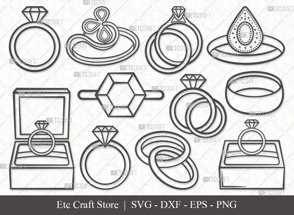 Engagement Ring Outline | Ring SVG Bundle