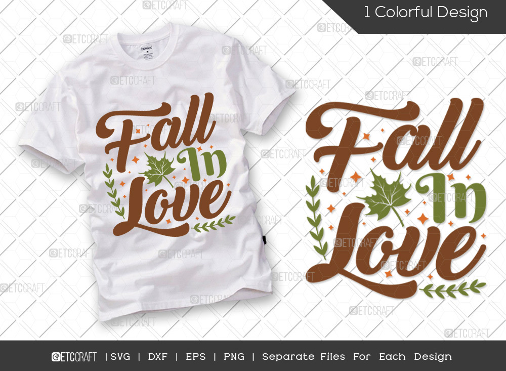 Fall In Love SVG Cut File | Fall Leaves SVG