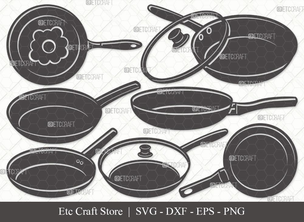 Frying Pan Silhouette   Cooking Pan SVG Bundle