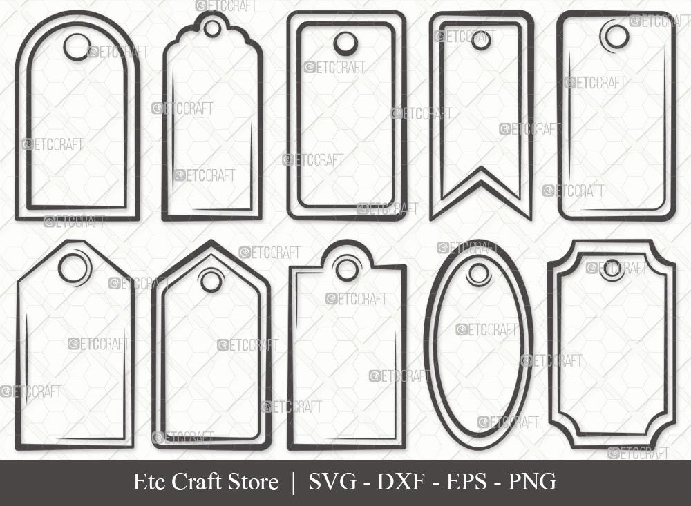 Gift Tags Outline SVG Cut File | Tags SVG Bundle