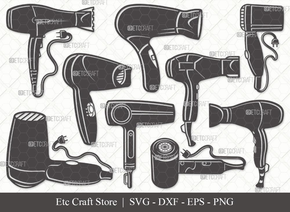 Hair Dryer Silhouette   Barber Tools SVG Bundle