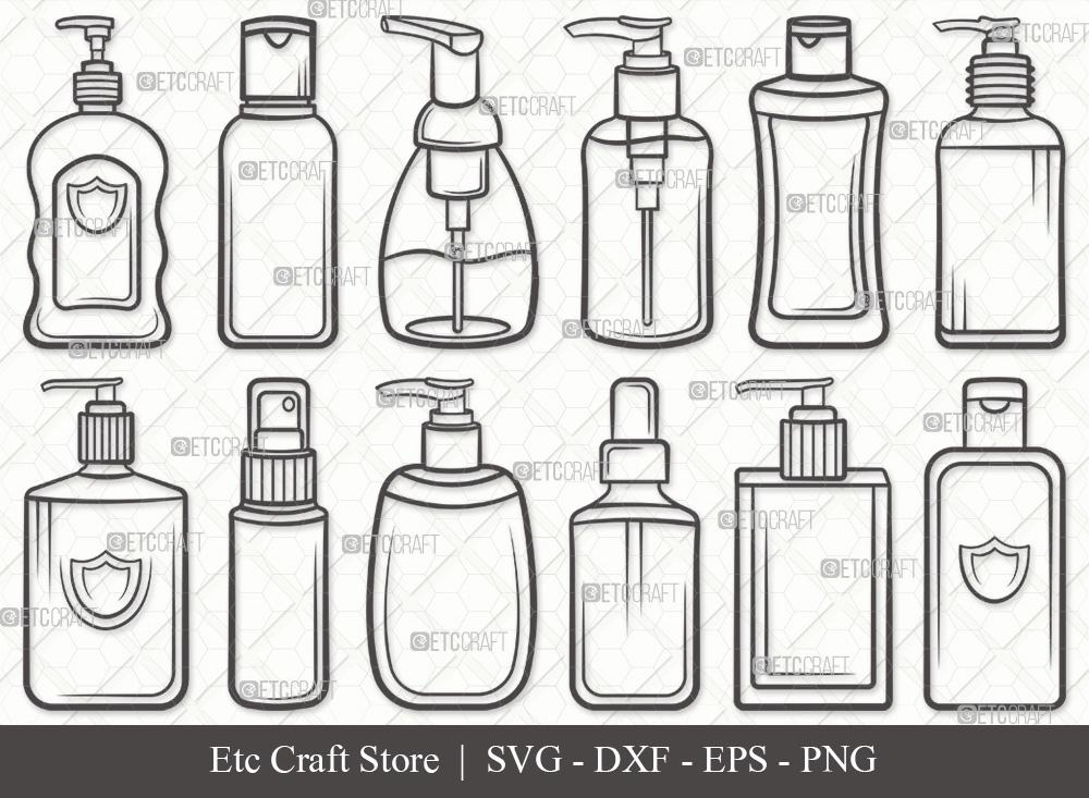 Hand Sanitizer Outline | Spray Bottle SVG Bundle