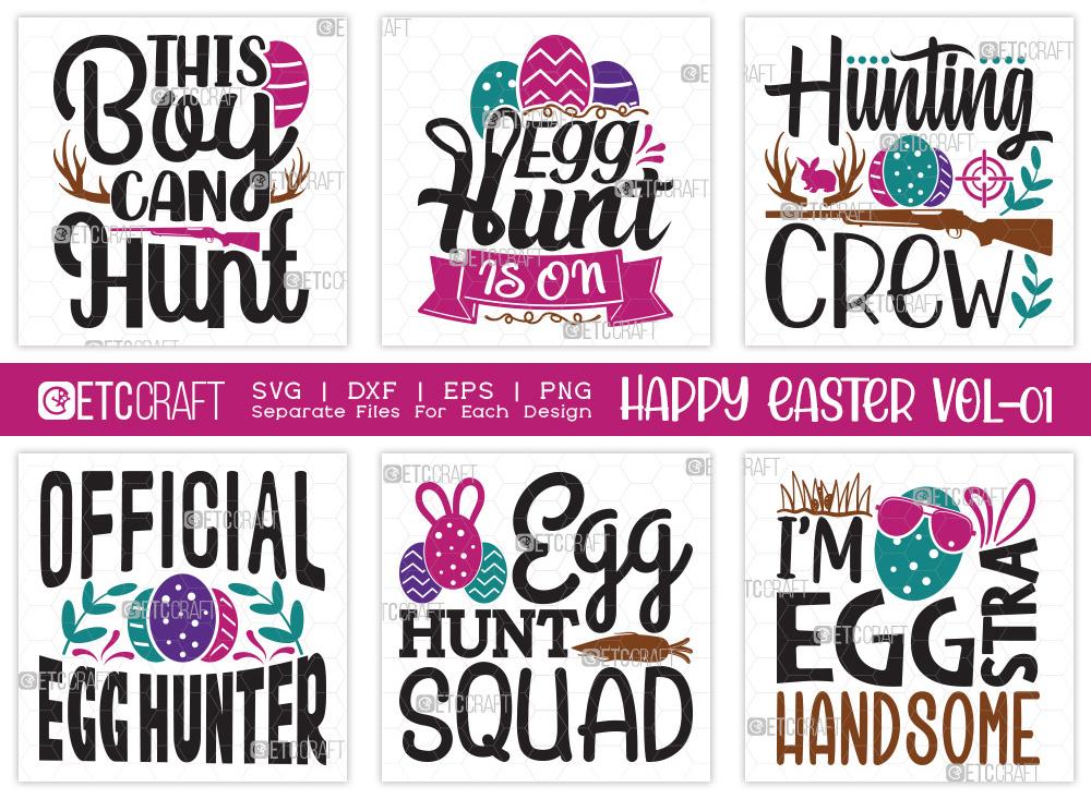 Happy Easter SVG Bundle Vol-01 | Hunting Crew